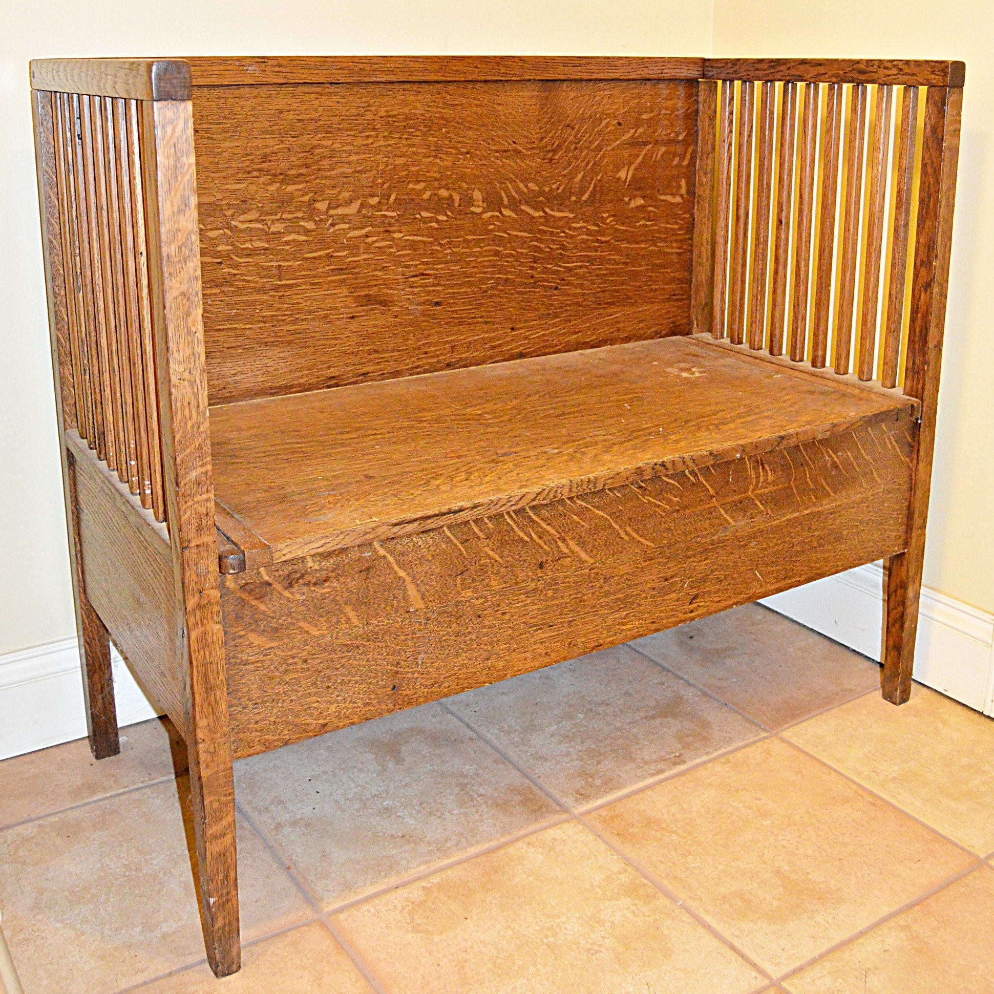 Antique Arts and Crafts Oak Hall Bench