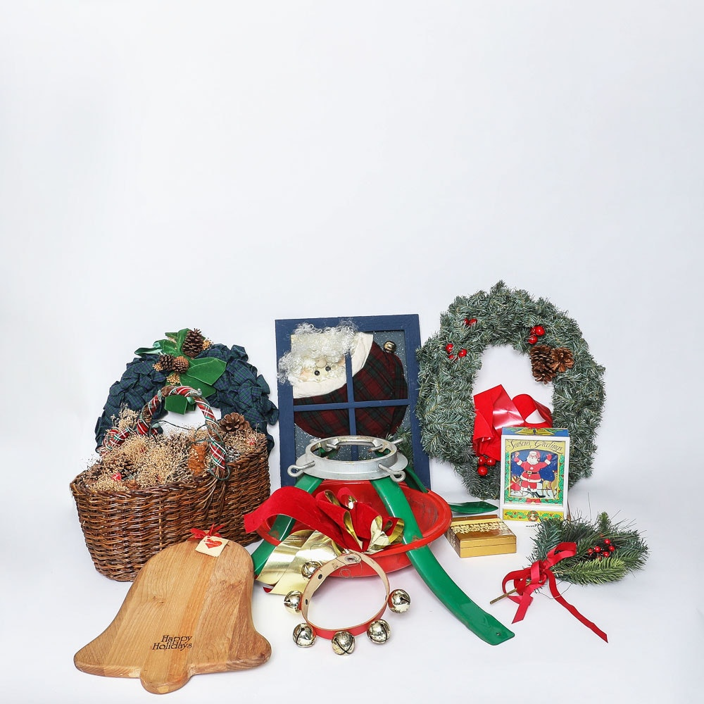 Seasonal Décor Including Christmas Tree Stand