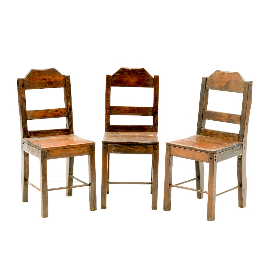 Set of Antique Pine Chairs ... - Set Of Antique Pine Chairs : EBTH