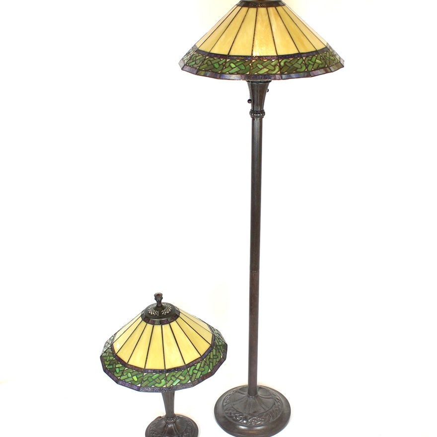 Matching Table And Floor Lamps With Tiffany Style Shades