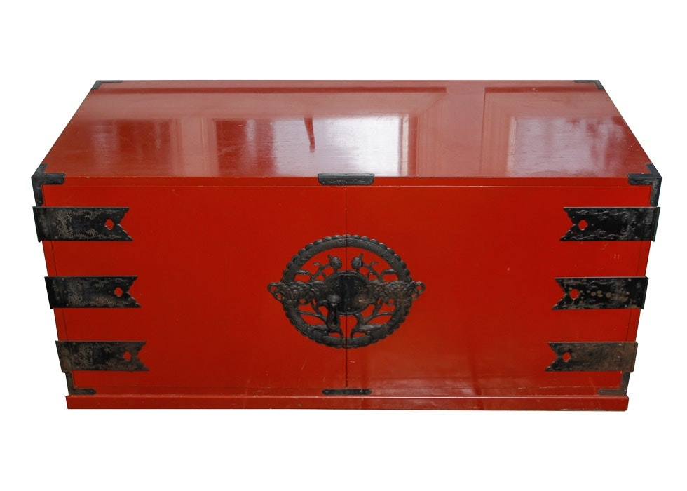 Japanese Red Lacquered Cabinet