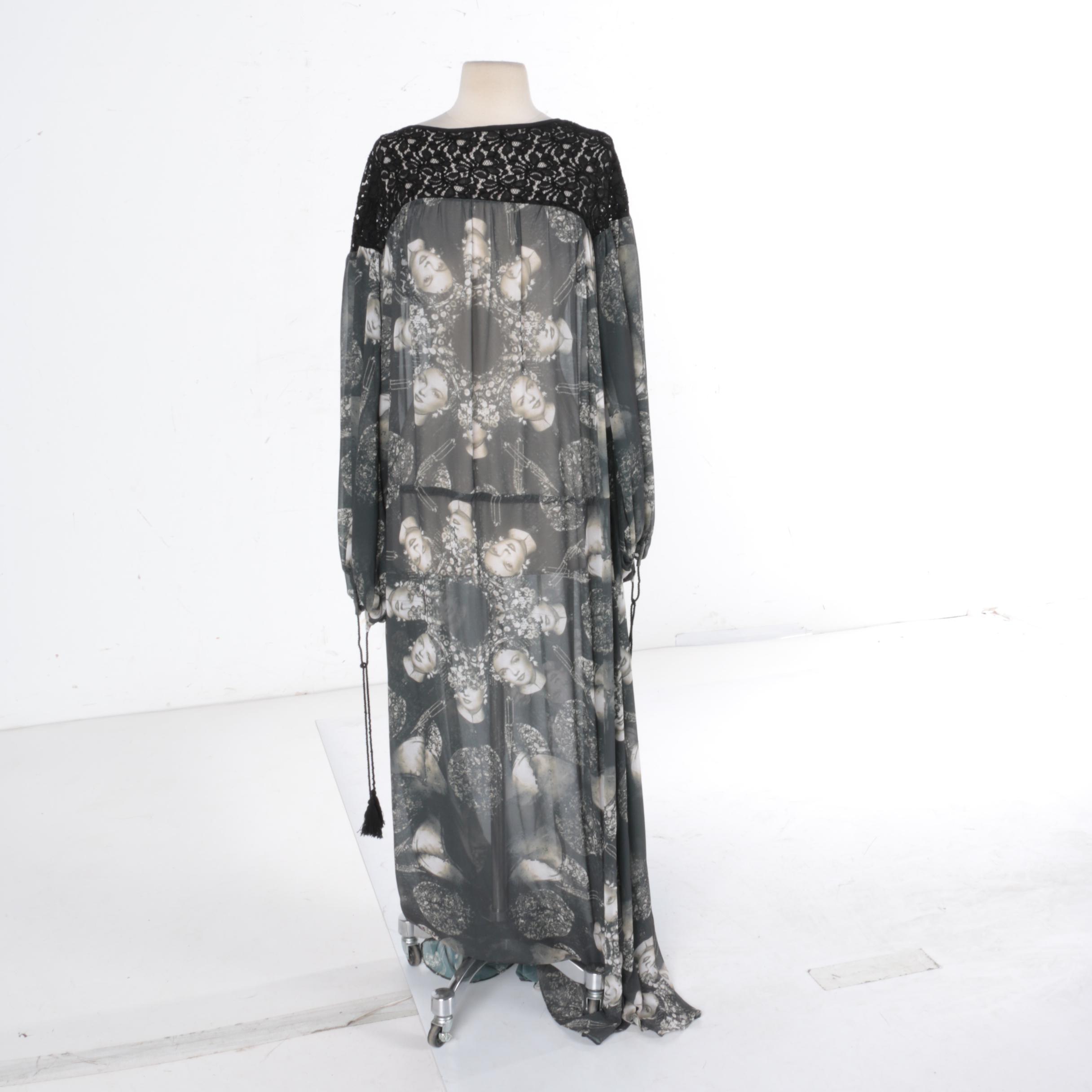 2016 Trelise Cooper Sample Billowing Bitter Silk Chiffon Dress
