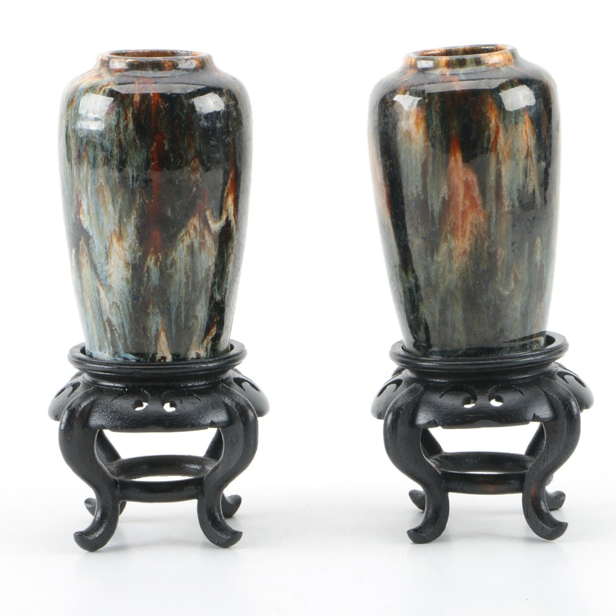 Pair Of Ceramic Vases With Wooden Stands Ebth