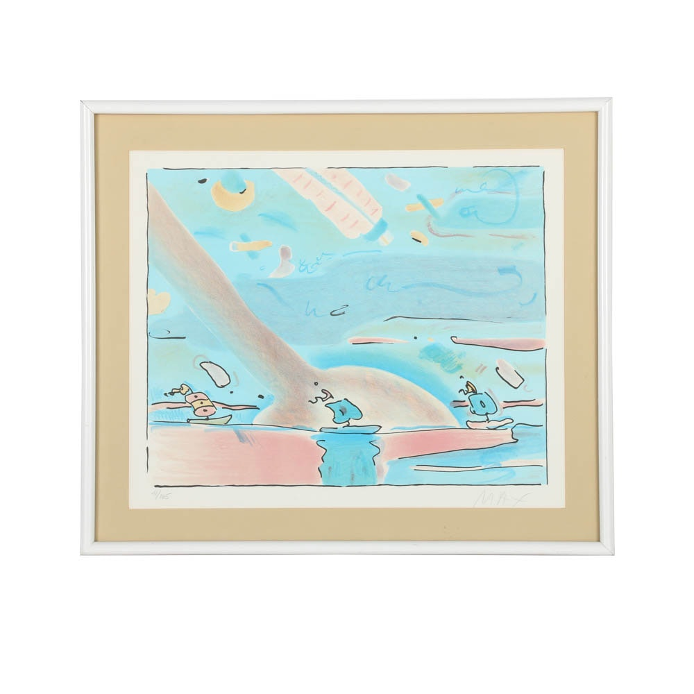 """Peter Max Limited Edition Lithograph on Paper """"Sailboats"""""""