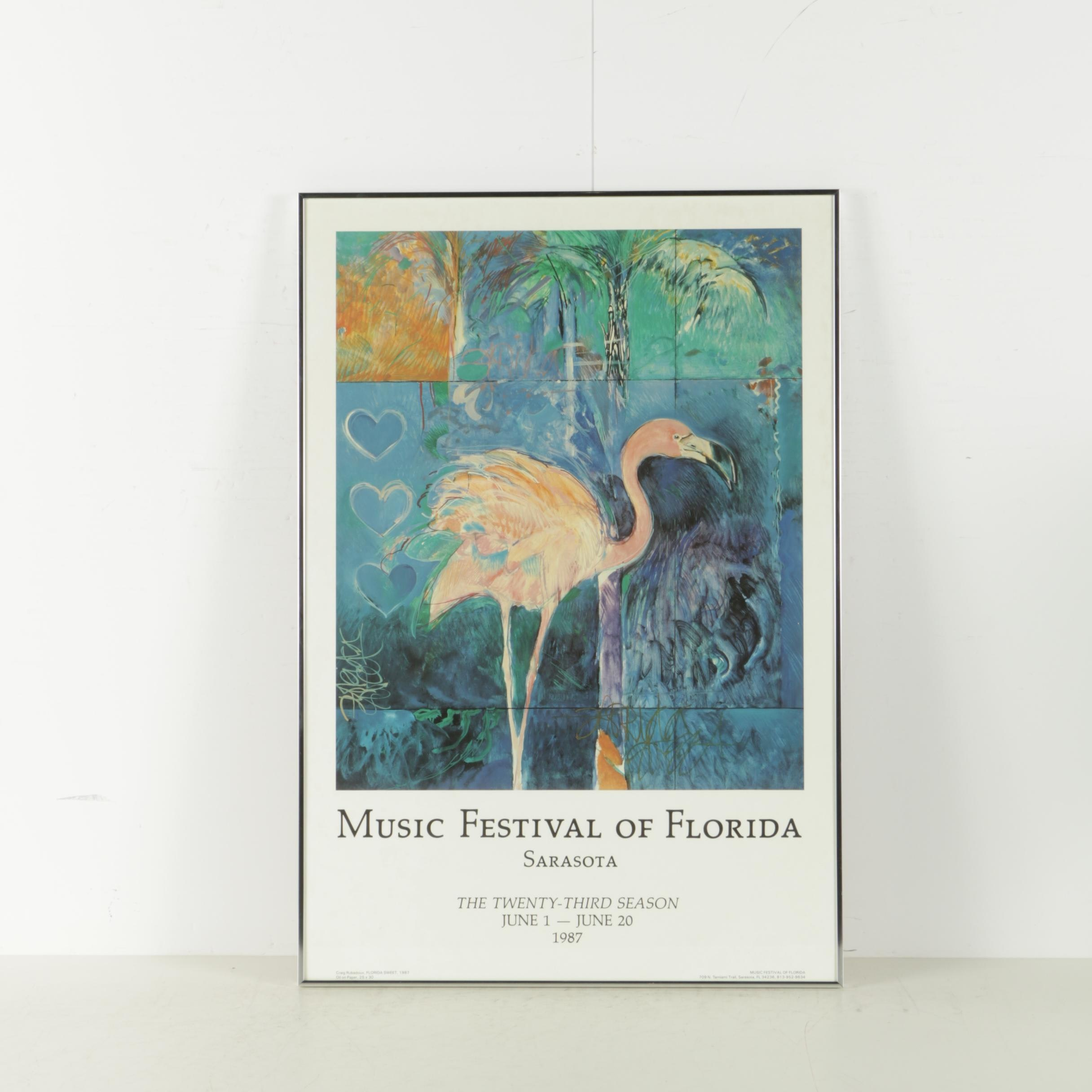 Offset Lithograph Poster for the Music Festival of Florida After Craig Rubadoux