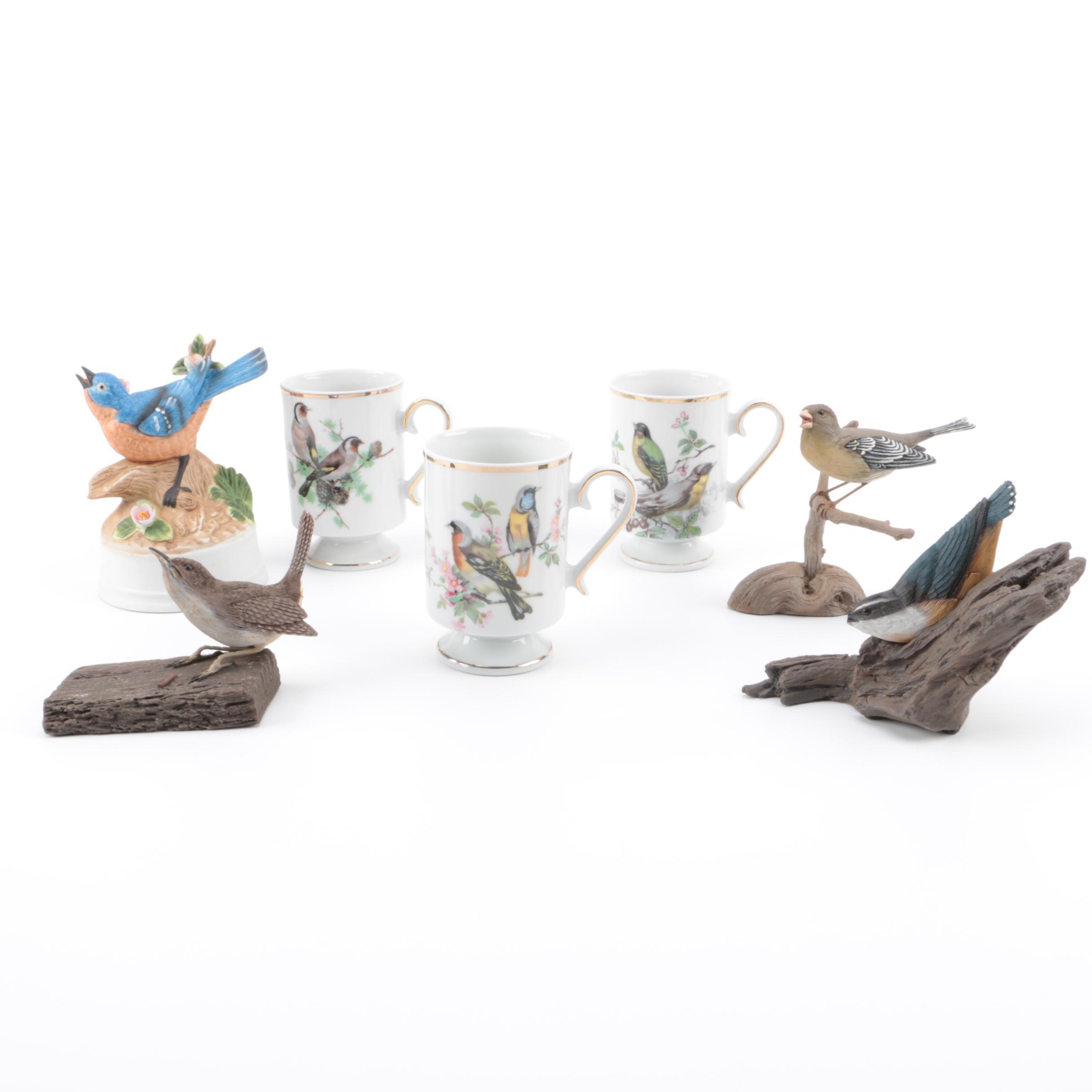 Royal Crown Bird Mugs, National Audubon Figurines and Porcelain Bird Music Box