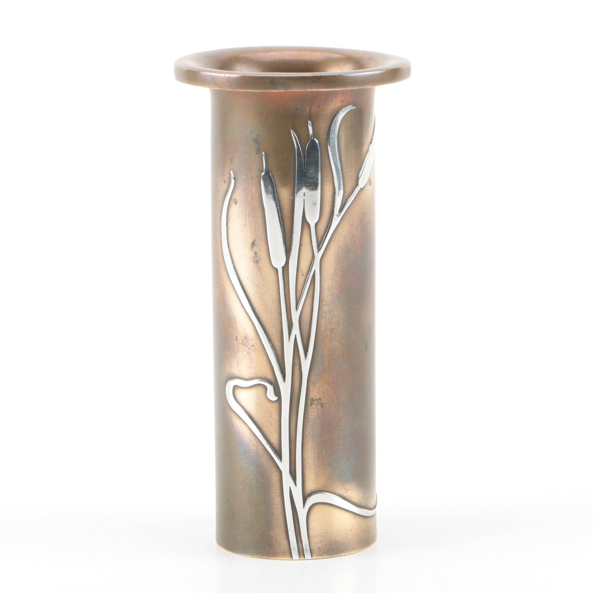 "Early 20th Century Heintz Sterling Overlay and Bronze ""Cattail"" Vase"