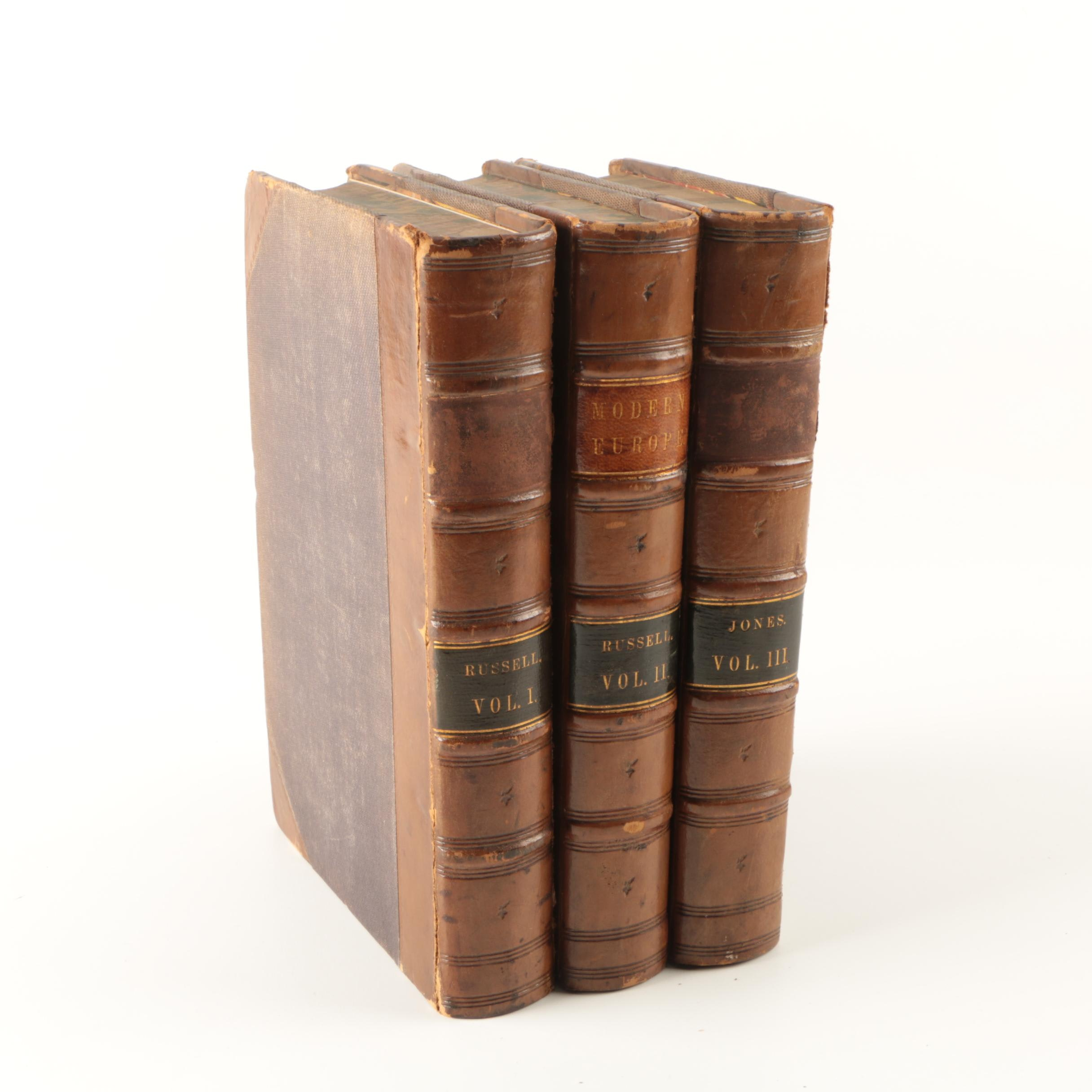 "1855 Three-Volume ""The History of Modern Europe"" by William Russell"
