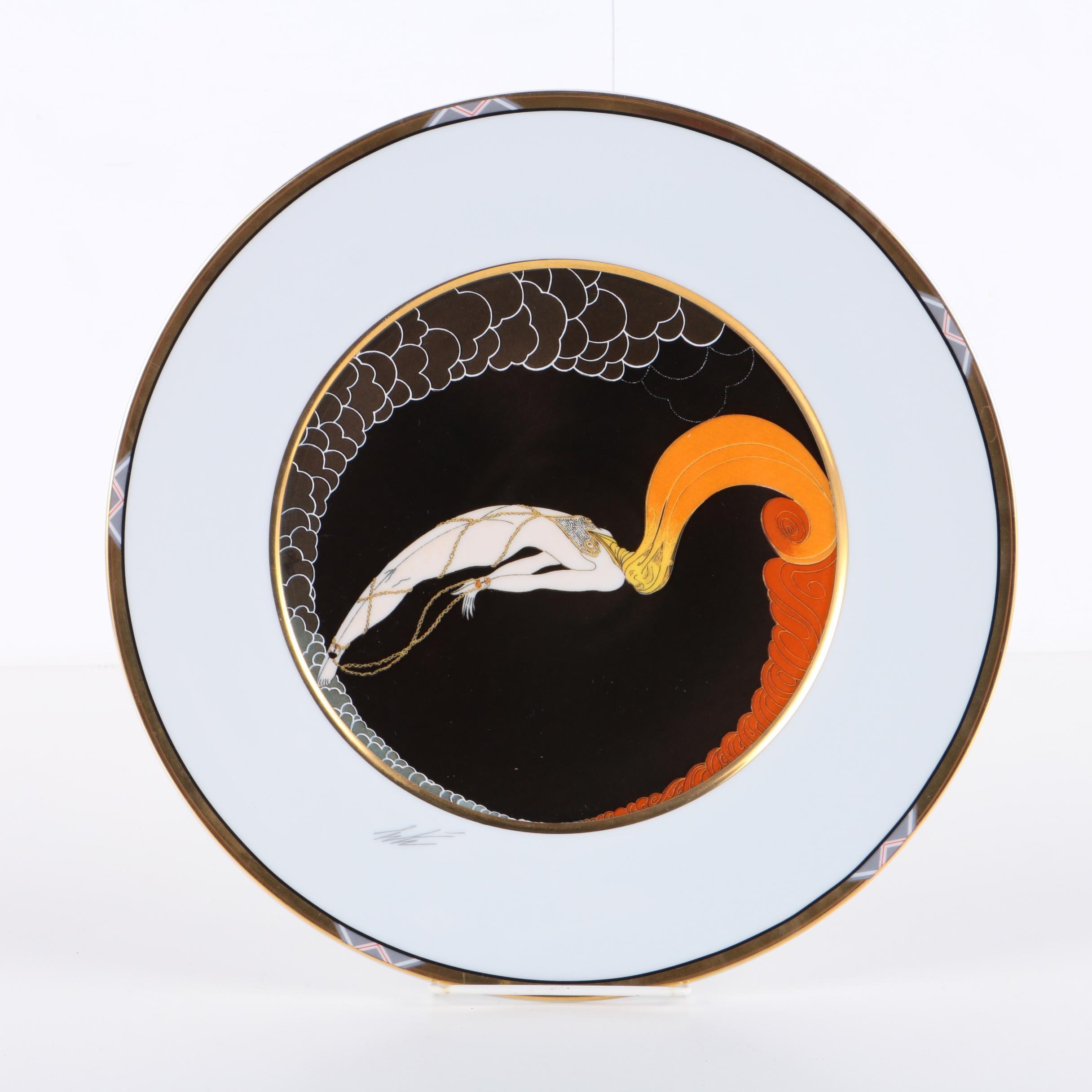 """Erte Sevenarts Limited Porcelain Plate After """"L'Amour"""""""