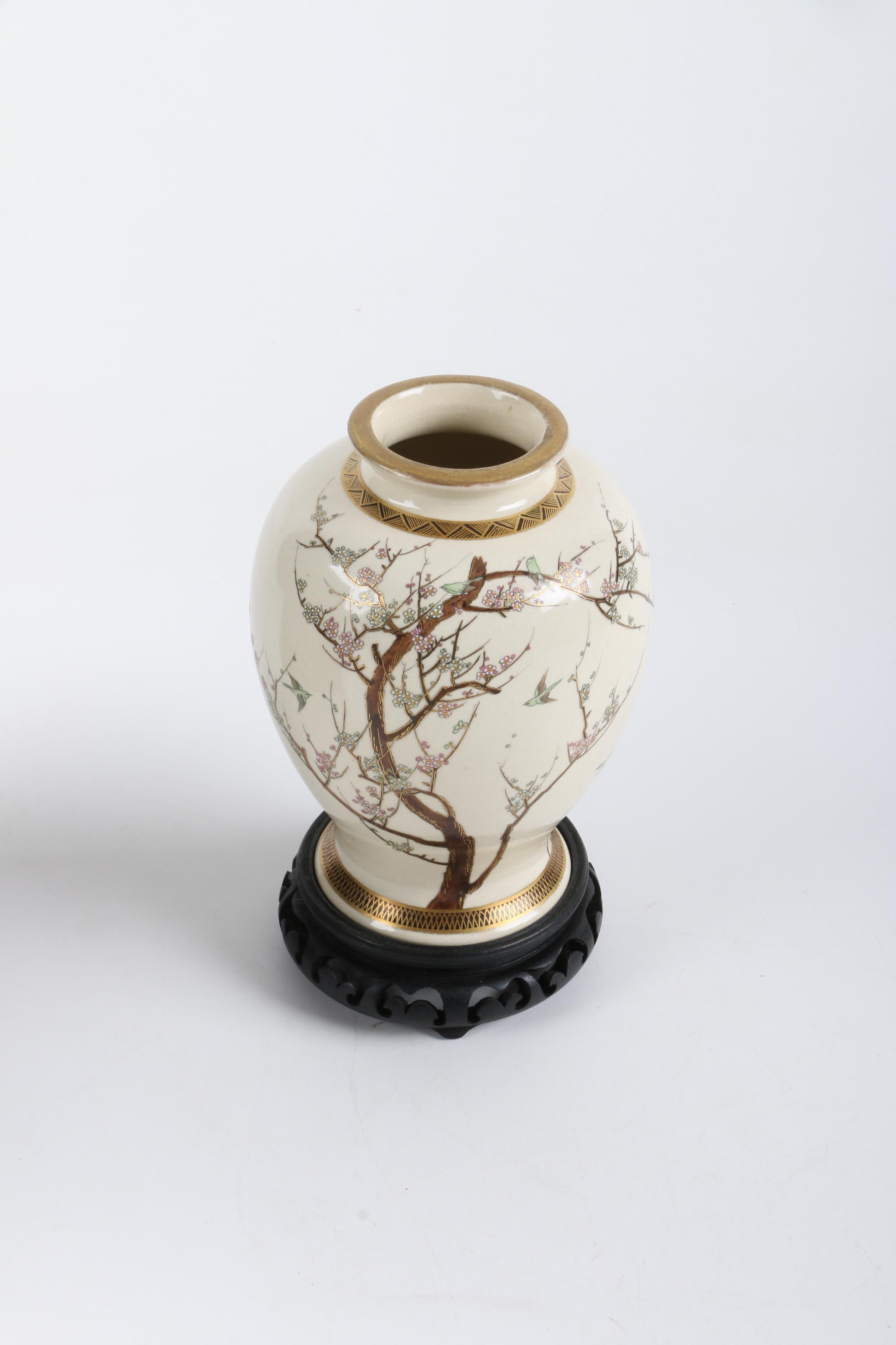 Japanese Satsuma Hand-Painted Porcelain Vase