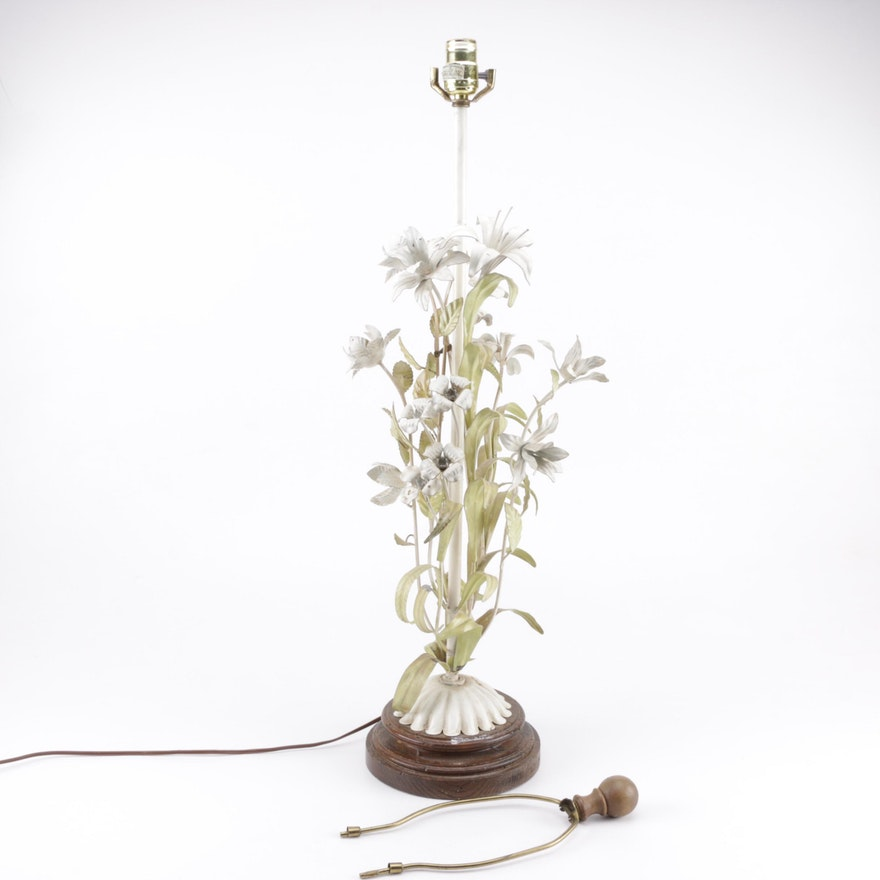 Vintage Italian Metal Floral Toleware Table Lamp On Wooden