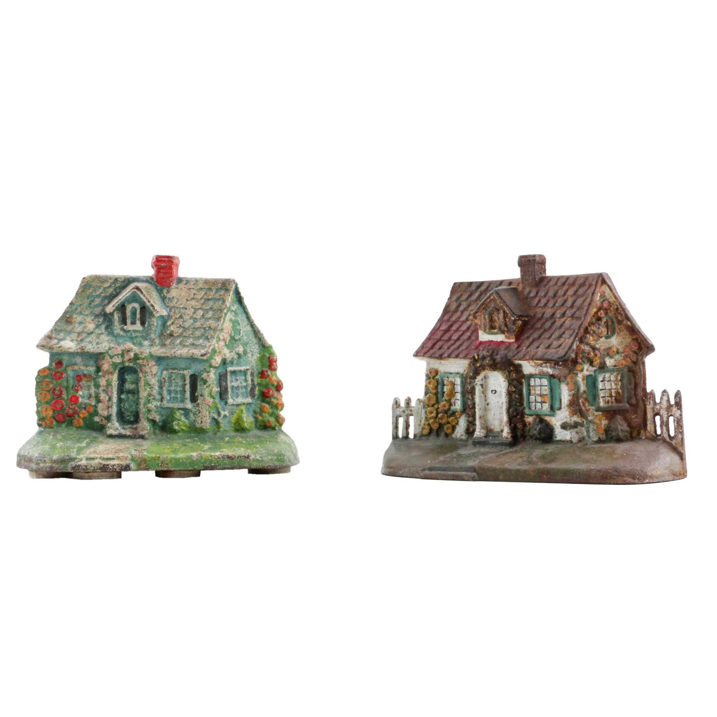 Vintage Cast Iron Cottage Shaped Doorstops
