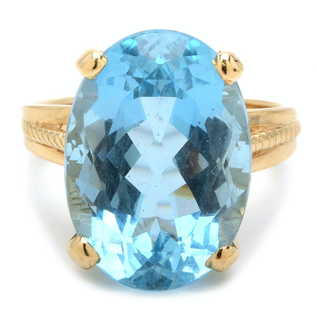 14K Yellow Gold 10.80 Carat Aquamarine Statement Ring