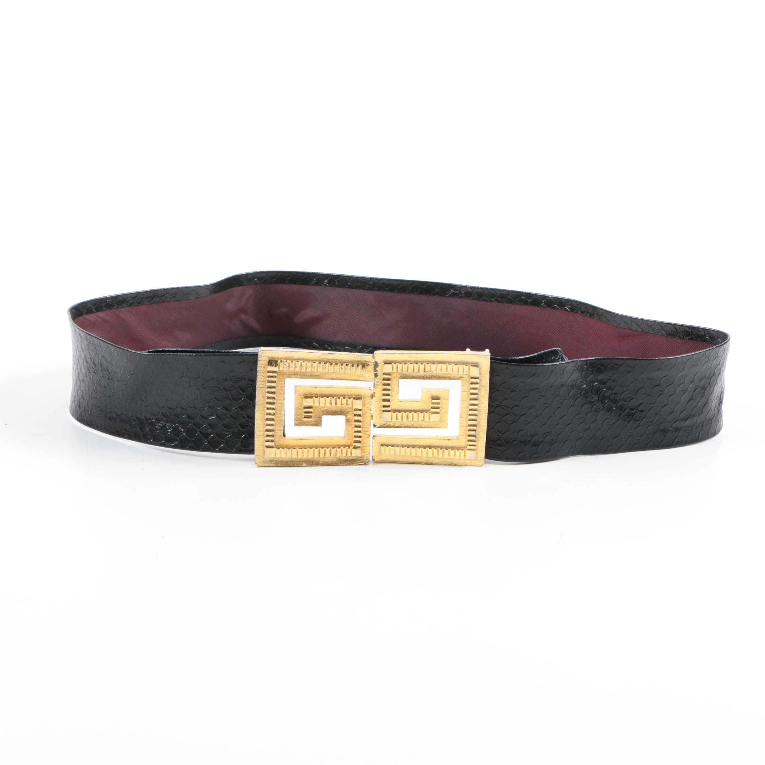 1981 Mimi Di N Black Embossed Belt