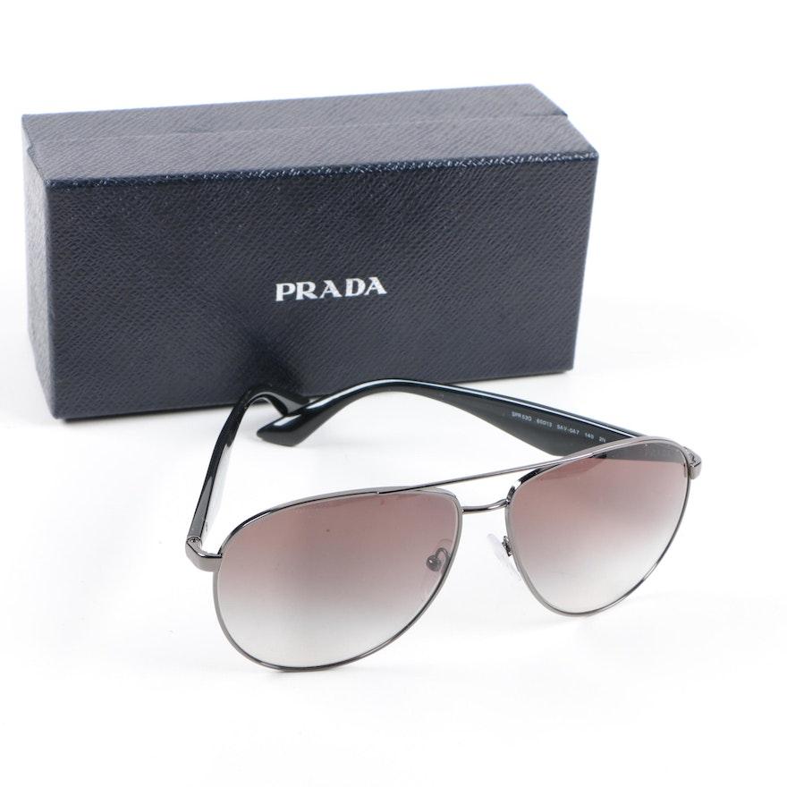 b36f6e0db4 Prada Milano SPR 53Q Aviator Sunglasses with Case and Box   EBTH