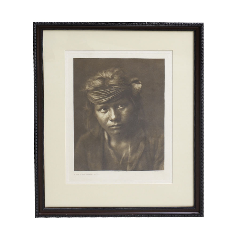 """Photogravure on Paper After Photograph Edward S. Curtis """"A Son of the Desert"""""""