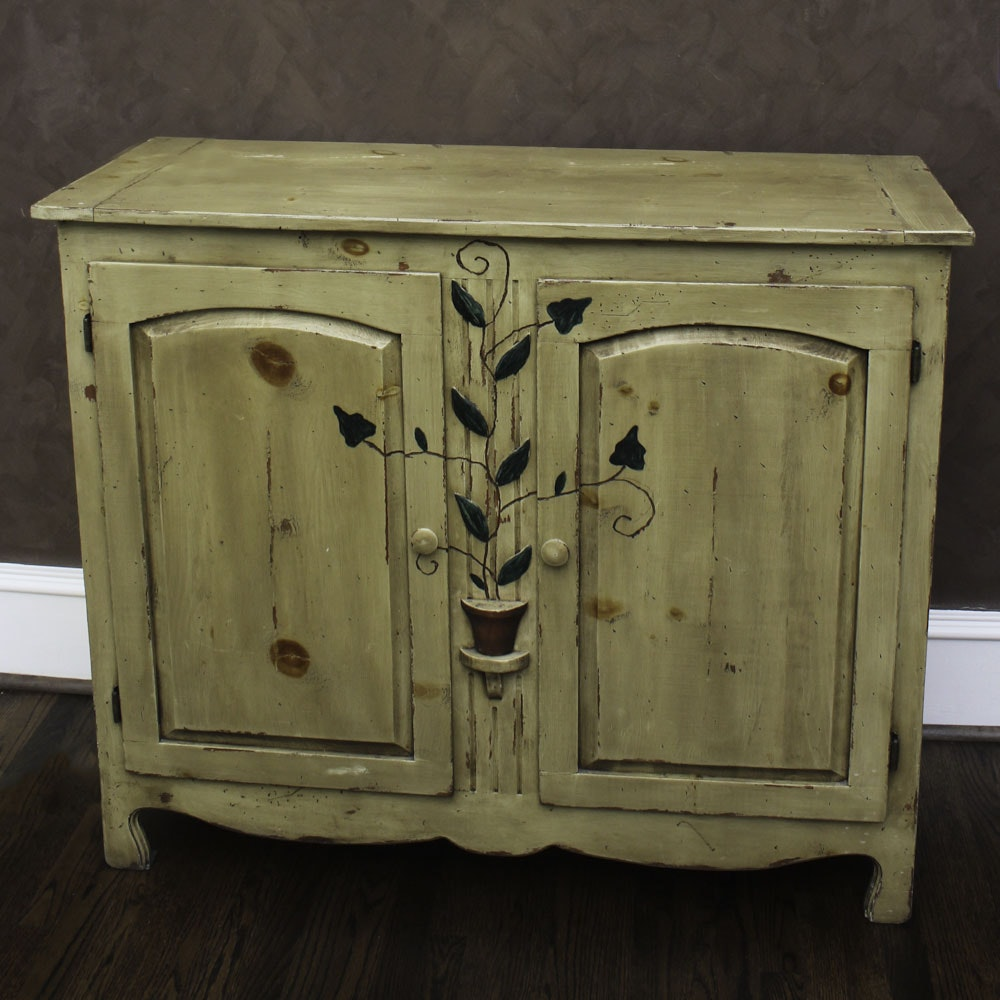 Plant Motif Pained Pine Cabinet