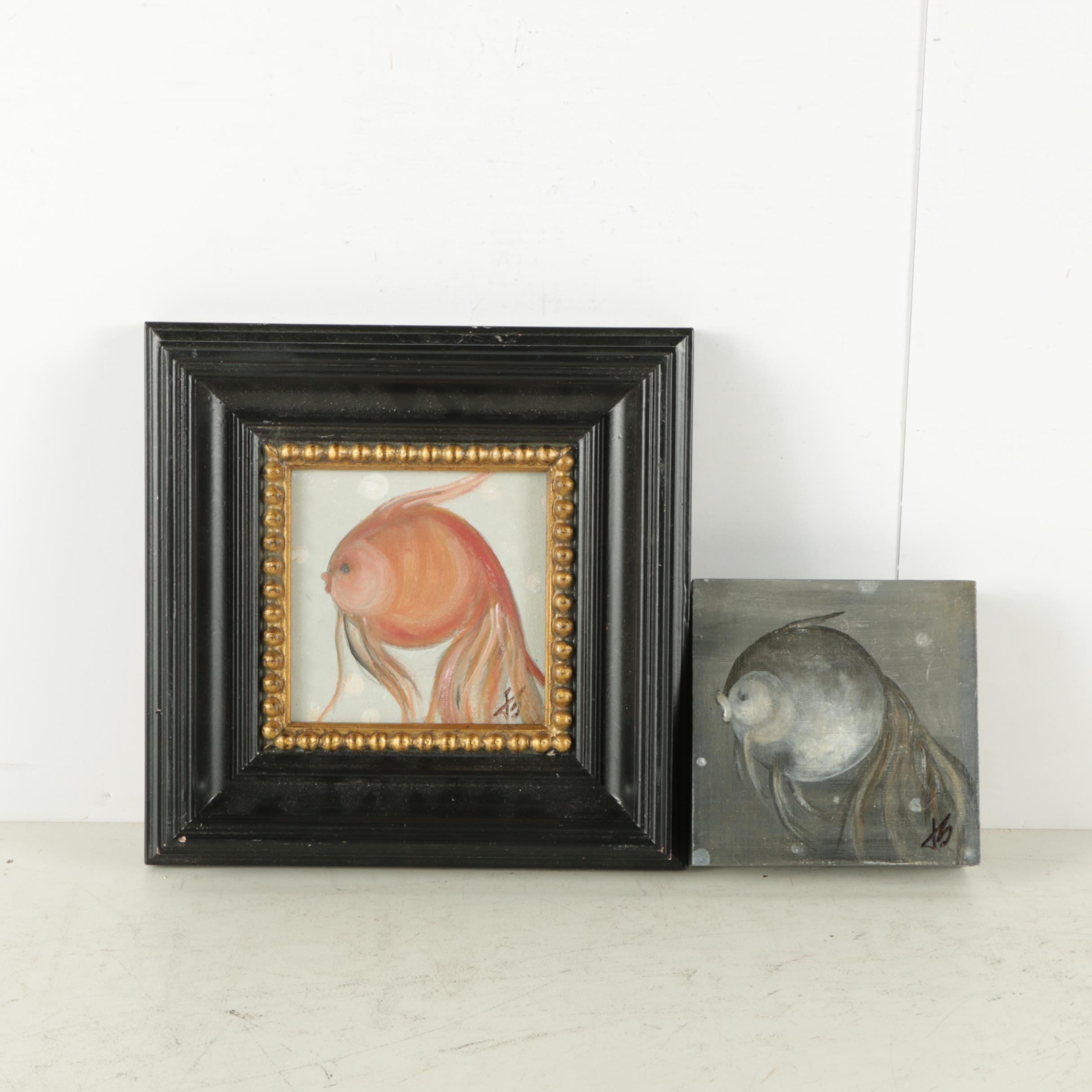 Jacqueline Saporiti Acrylic Paintings of Fish