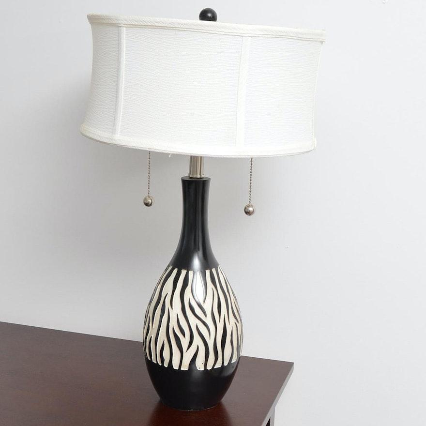 Ceramic Zebra Print Table Lamp Ebth
