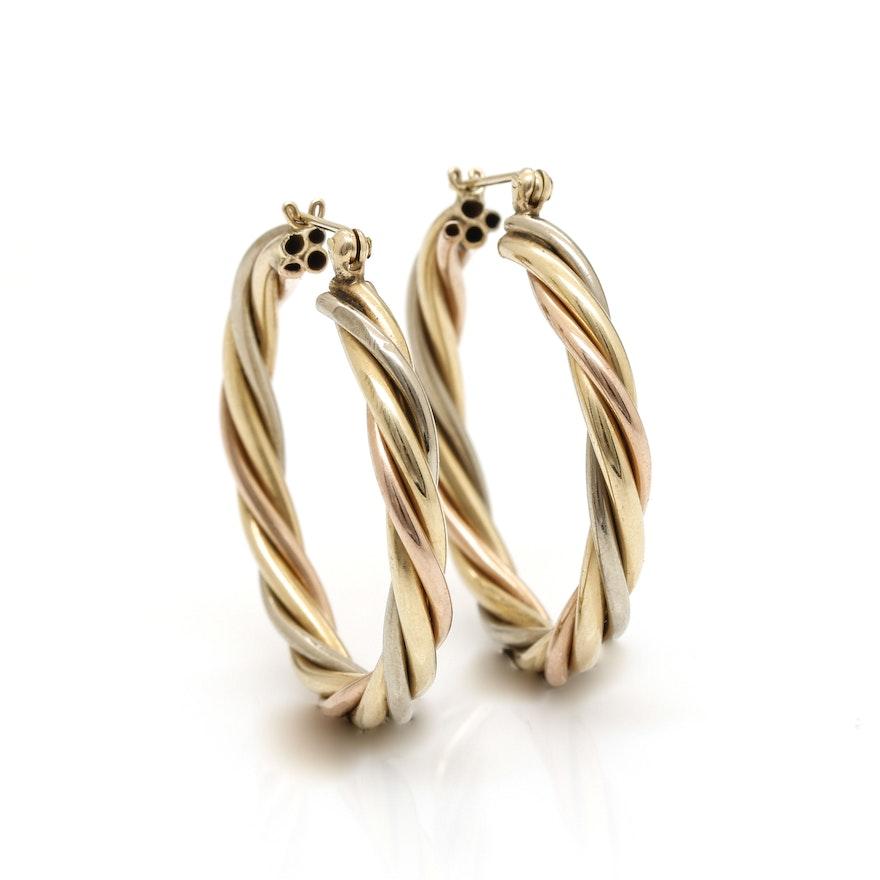 14k Tri Color Gold Hollow Hoop Earrings