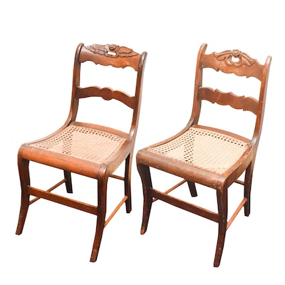 Pair of Antique Chairs with Caned Seats