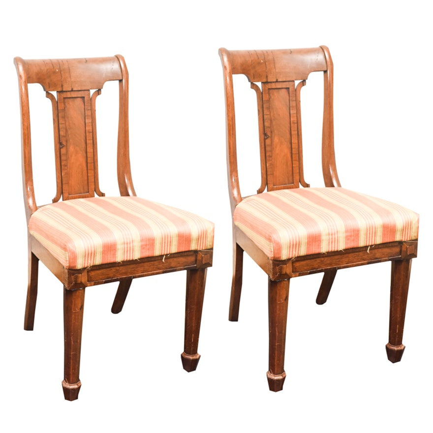 pair of antique american classical dining chairs with horse hair