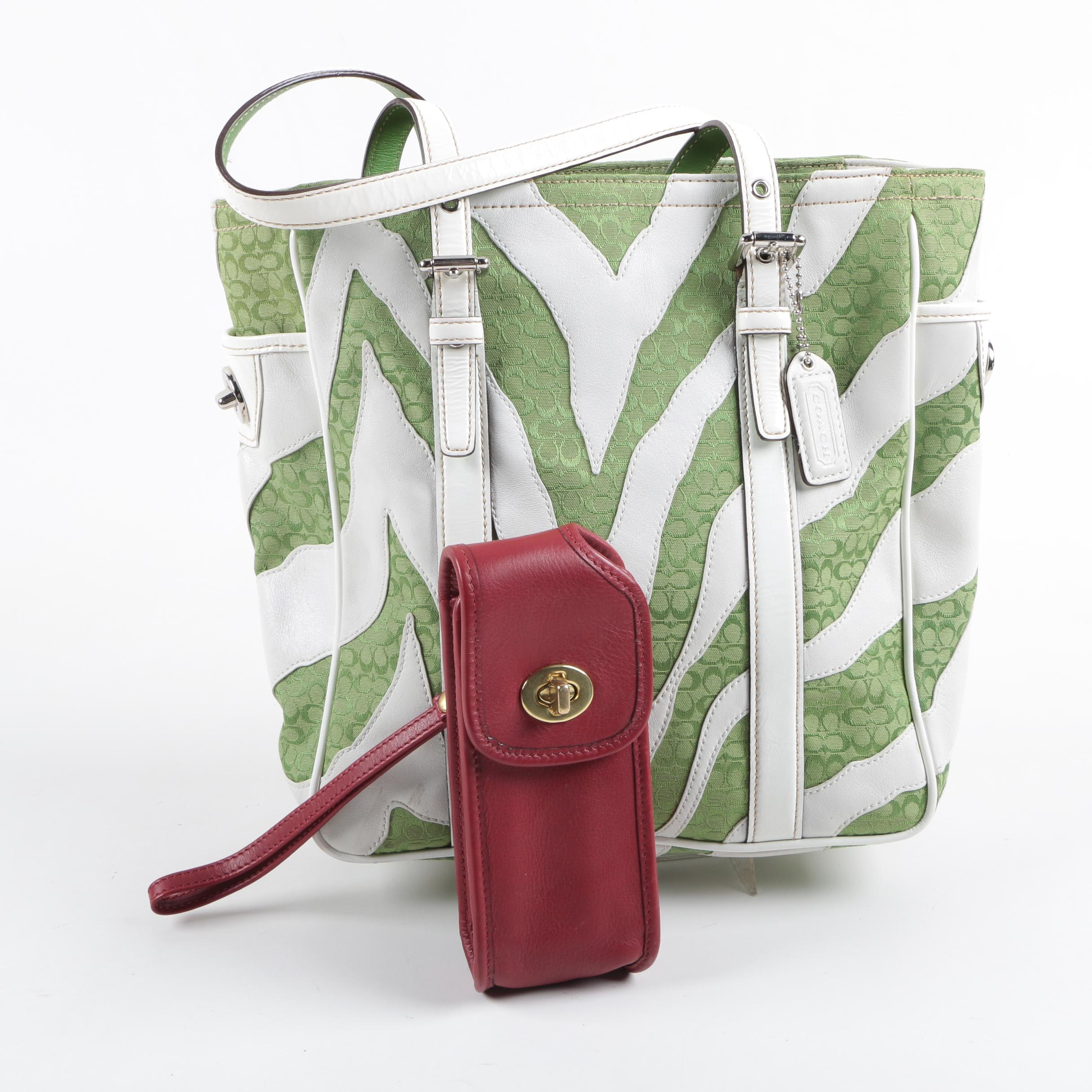 Coach Zebra Carryall Tote and Leather Cell Phone Pouch