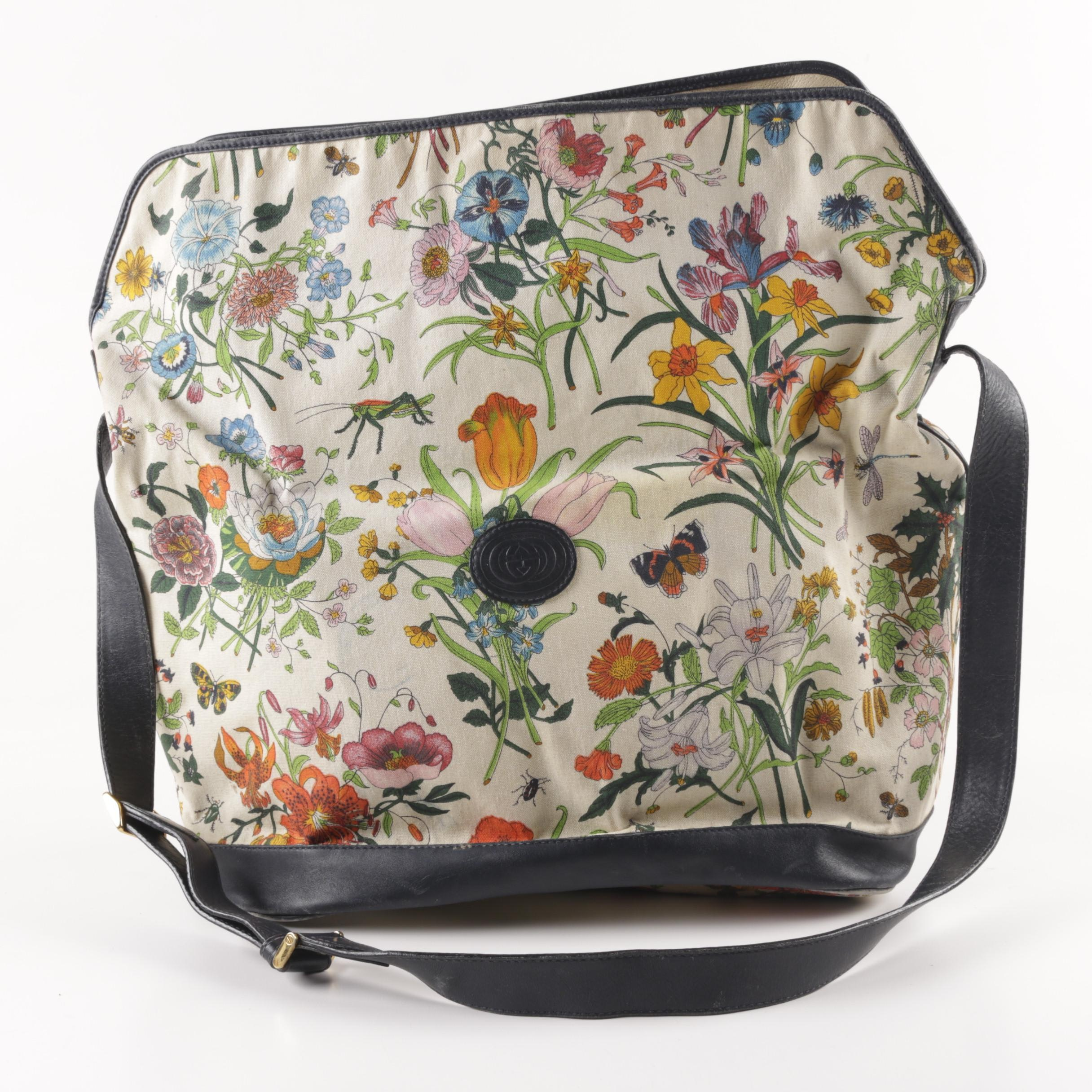 Gucci Canvas and Leather Floral Handbag