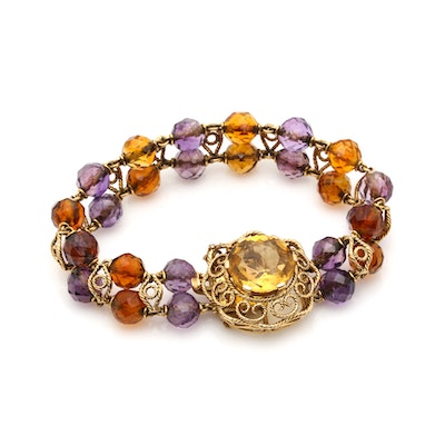 19K Yellow Gold Citrine and Amethyst Link Bracelet