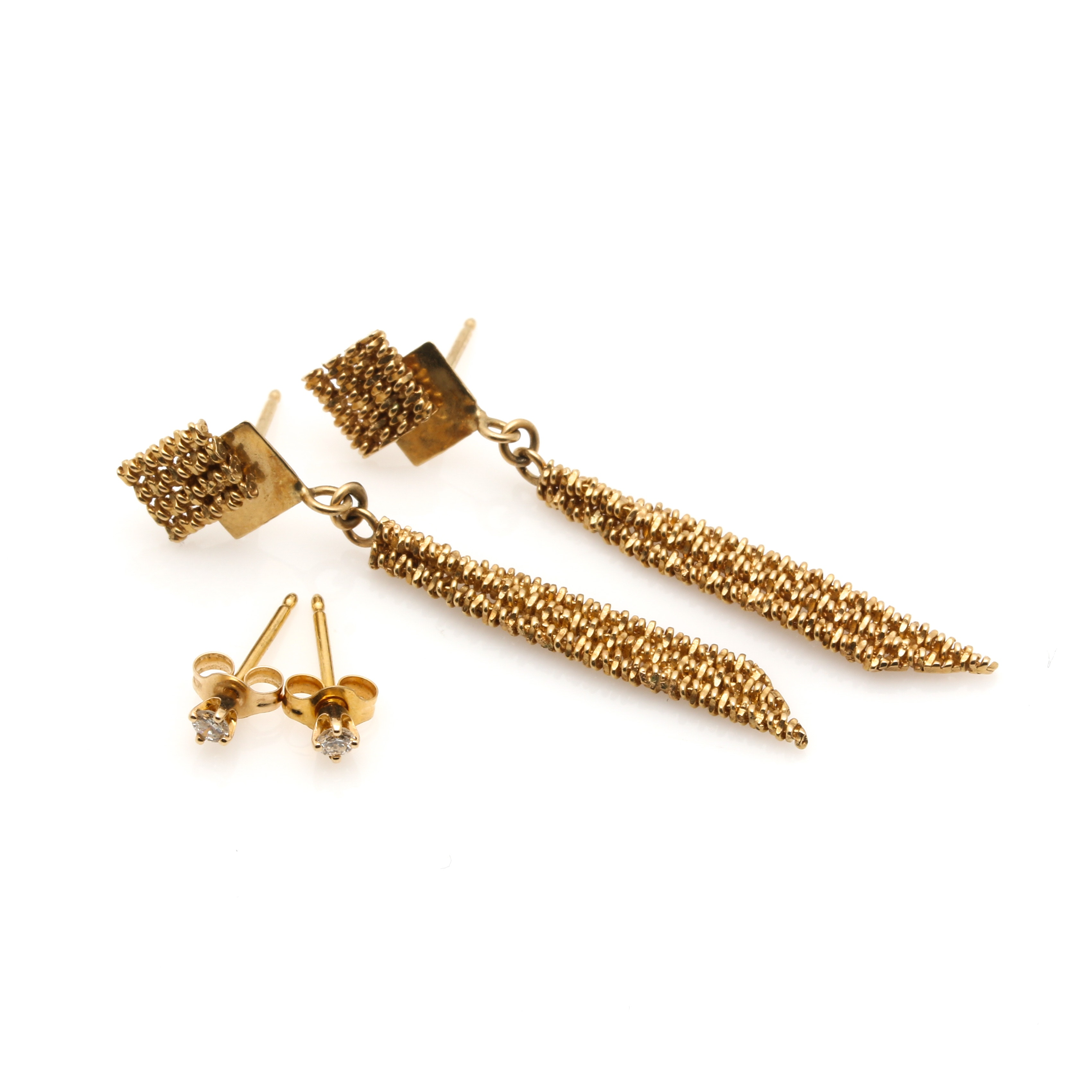 14K Yellow Gold Diamond Stud Earrings and Geometric Drop Earrings