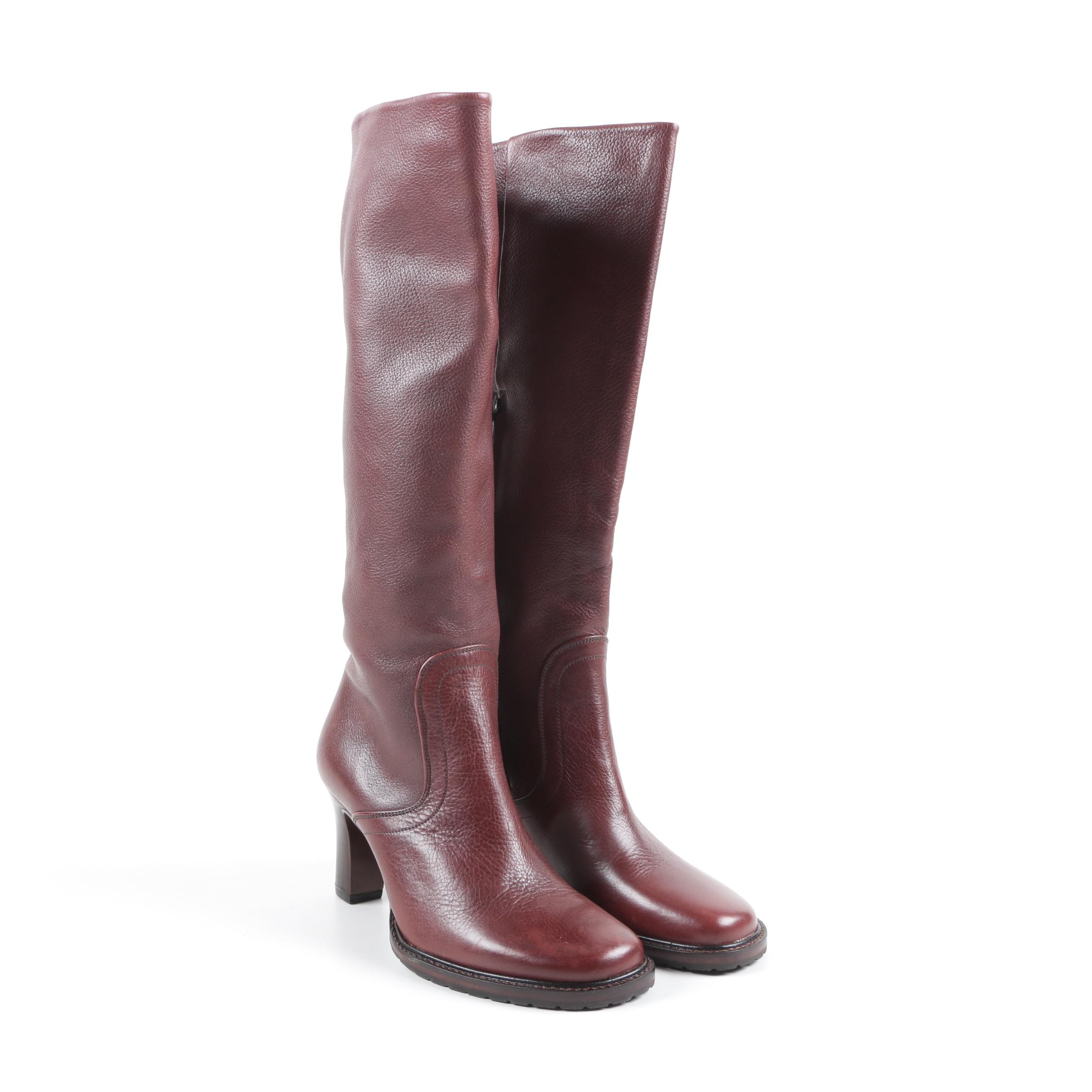 Women's Red Leather High Heeled Boots