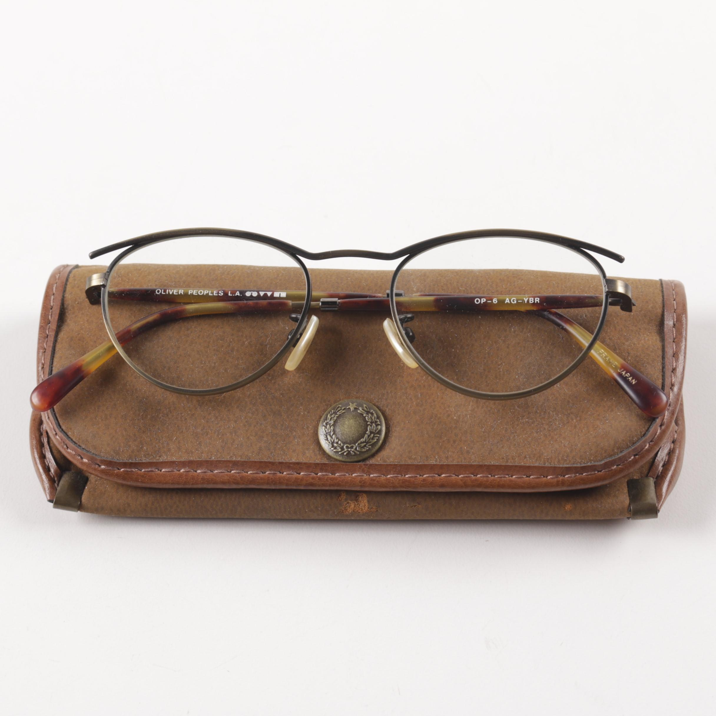 Oliver Peoples OP-6 AC-YBR Eyeglasses with Leather Case