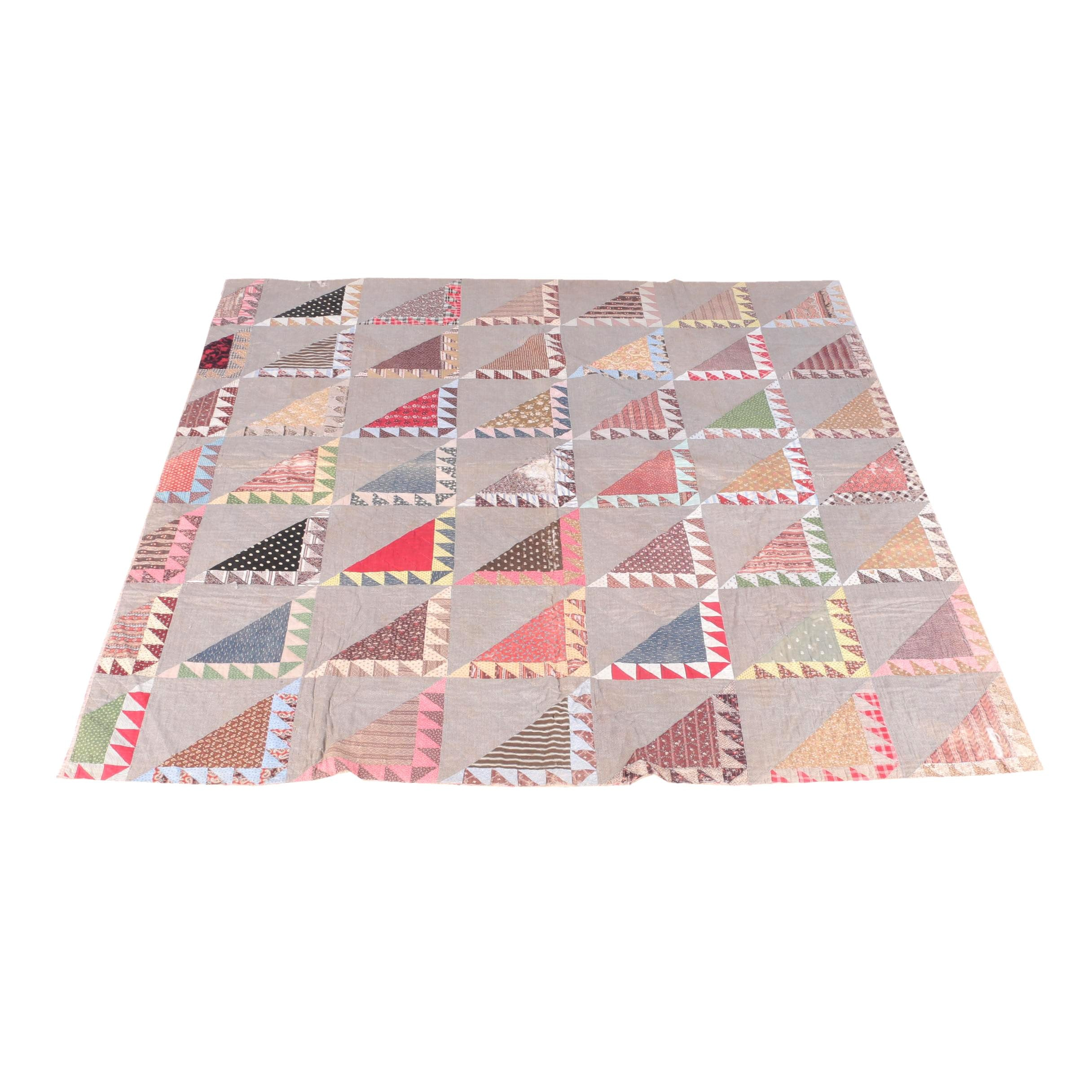 "Vintage Hand Pieced ""Half Square"" Triangle Quilt"
