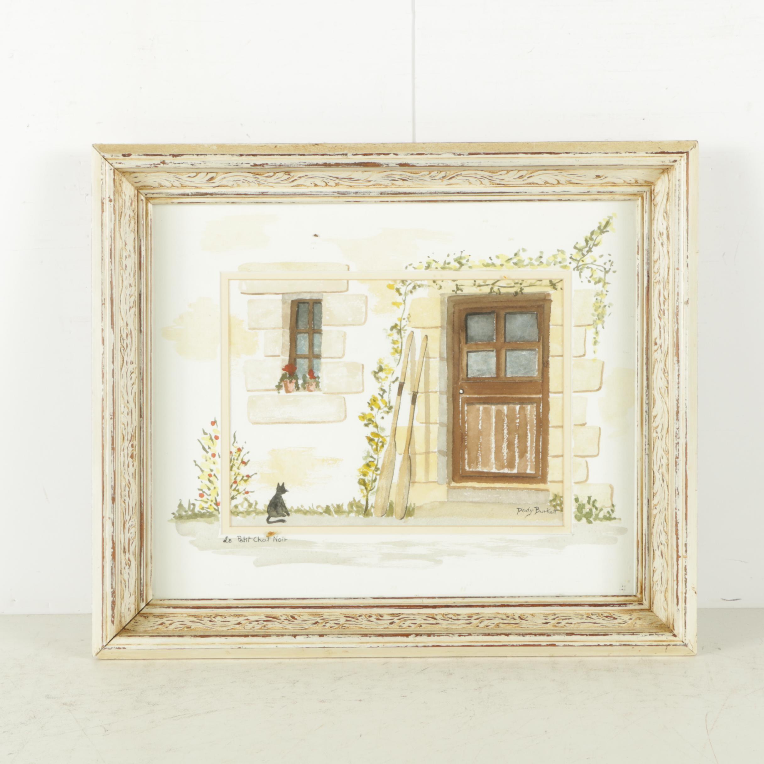 """Dody Burkett Watercolor and Gouache on Paper """"Le Petit Chat Noir"""""""