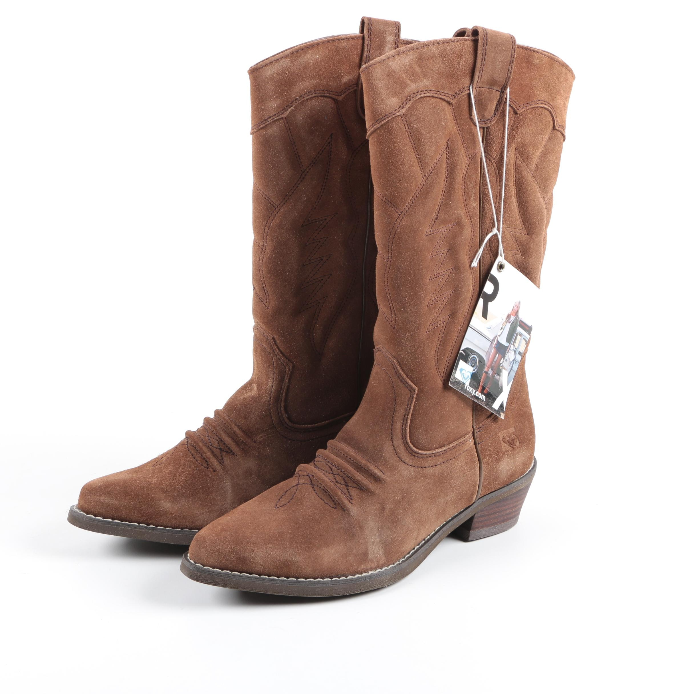 Women's Roxy Brown Suede Cowboy Boots