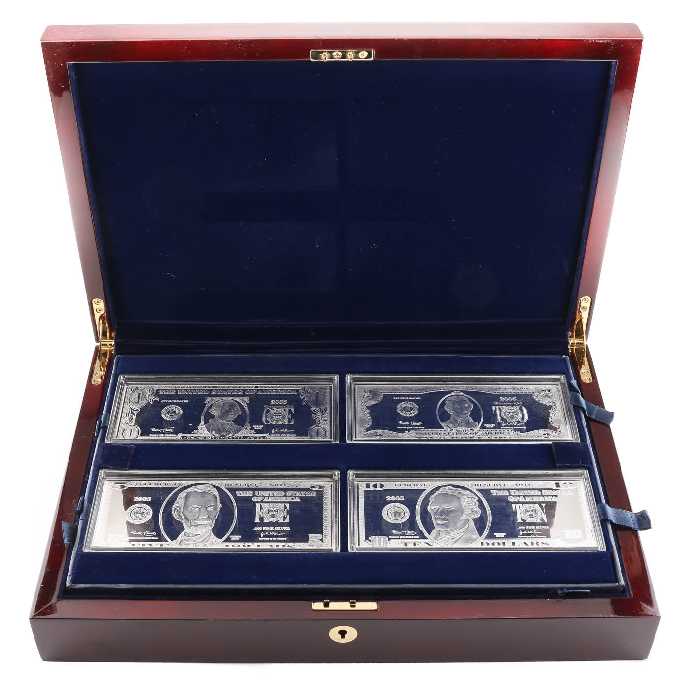 Group of Six Silver Copies of U.S. Currency Notes From the Washington Mint