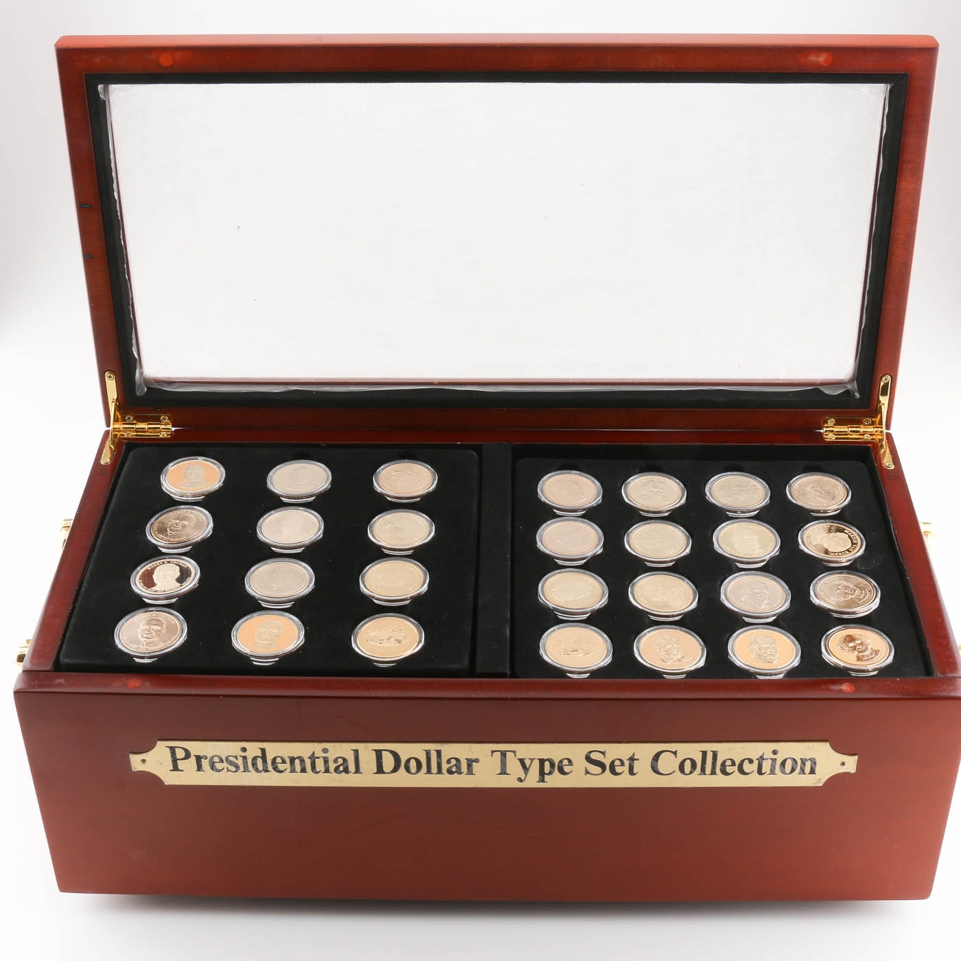 Presidential Golden Dollar Coin Type Set in a Wooden Display Case