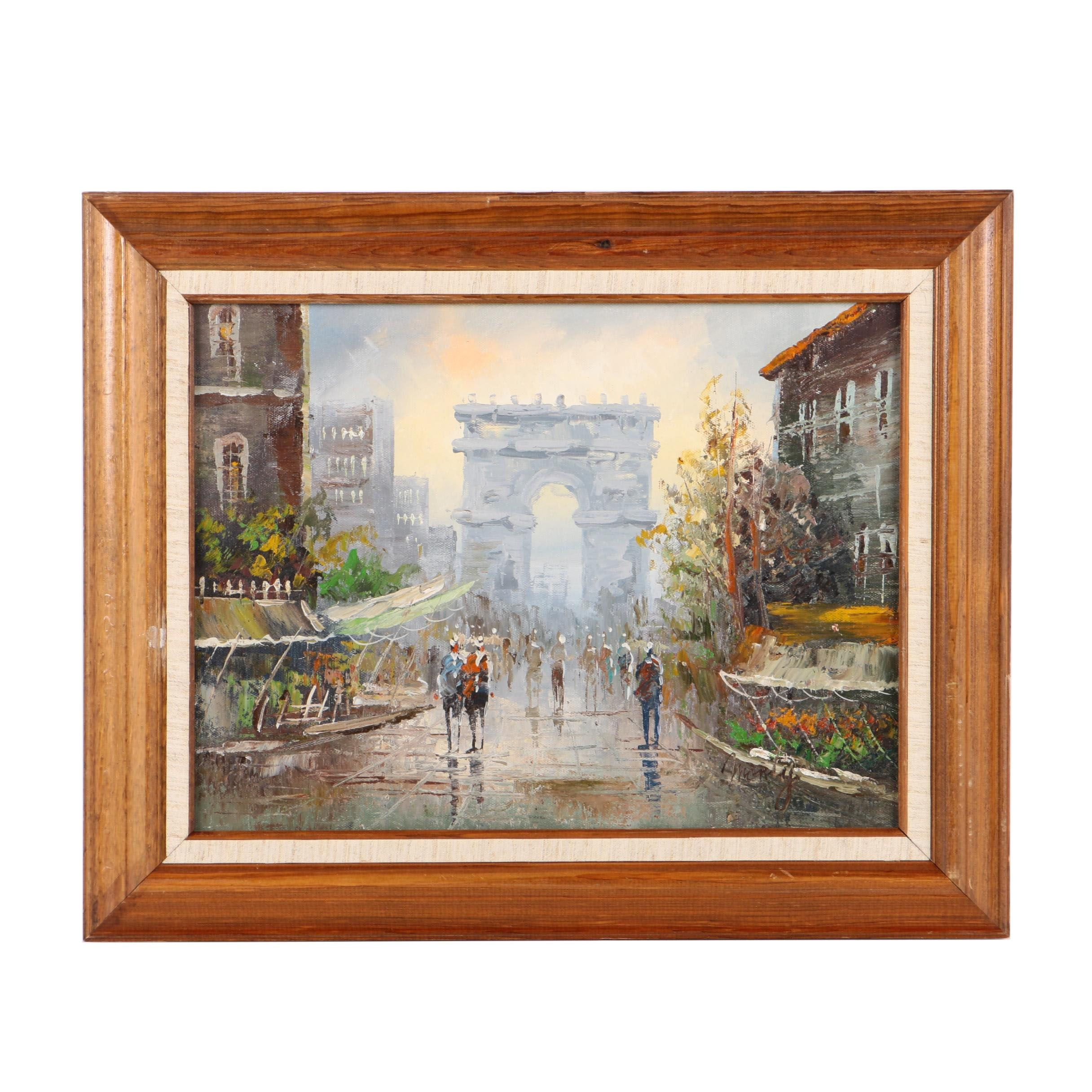 Signed Oil Painting on Canvas of a Rainy Day in Paris