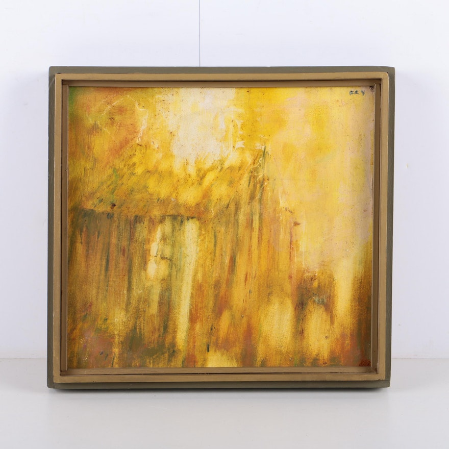 Ery Abstract Oil Painting on Wood Panel of Cabin : EBTH