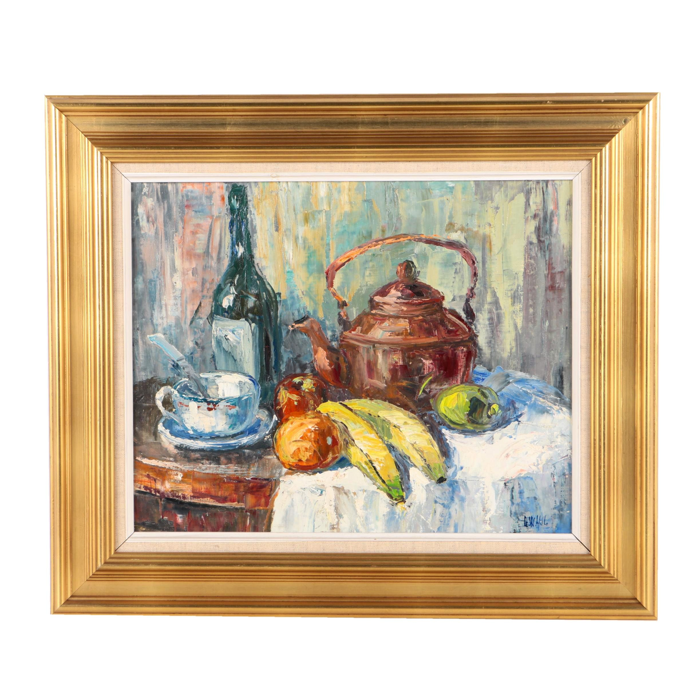 G.W. Hill Oil Painting of a Still Life with Bananas