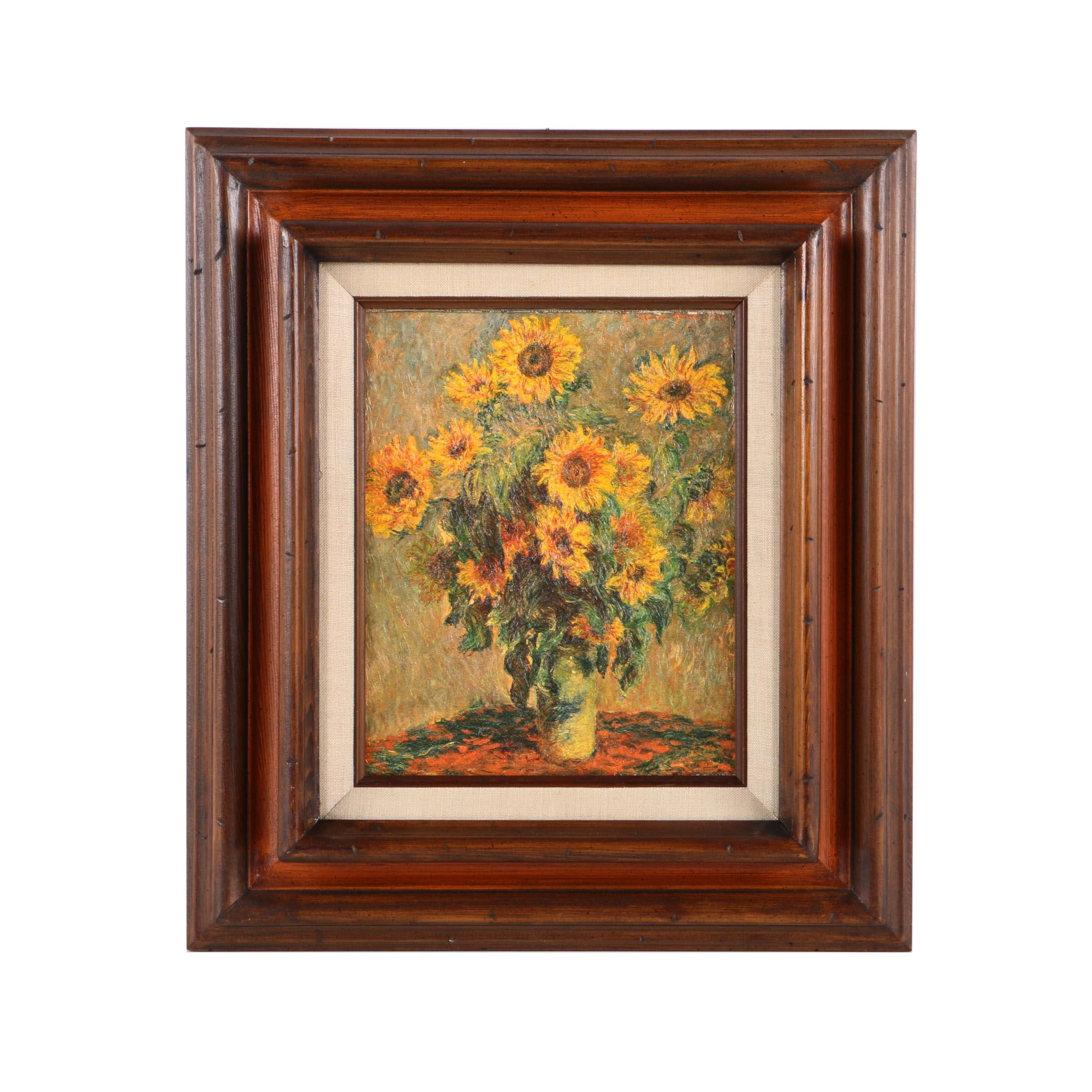 "Embellished Giclee on Canvas After Claude Monet's ""Sunflowers"""