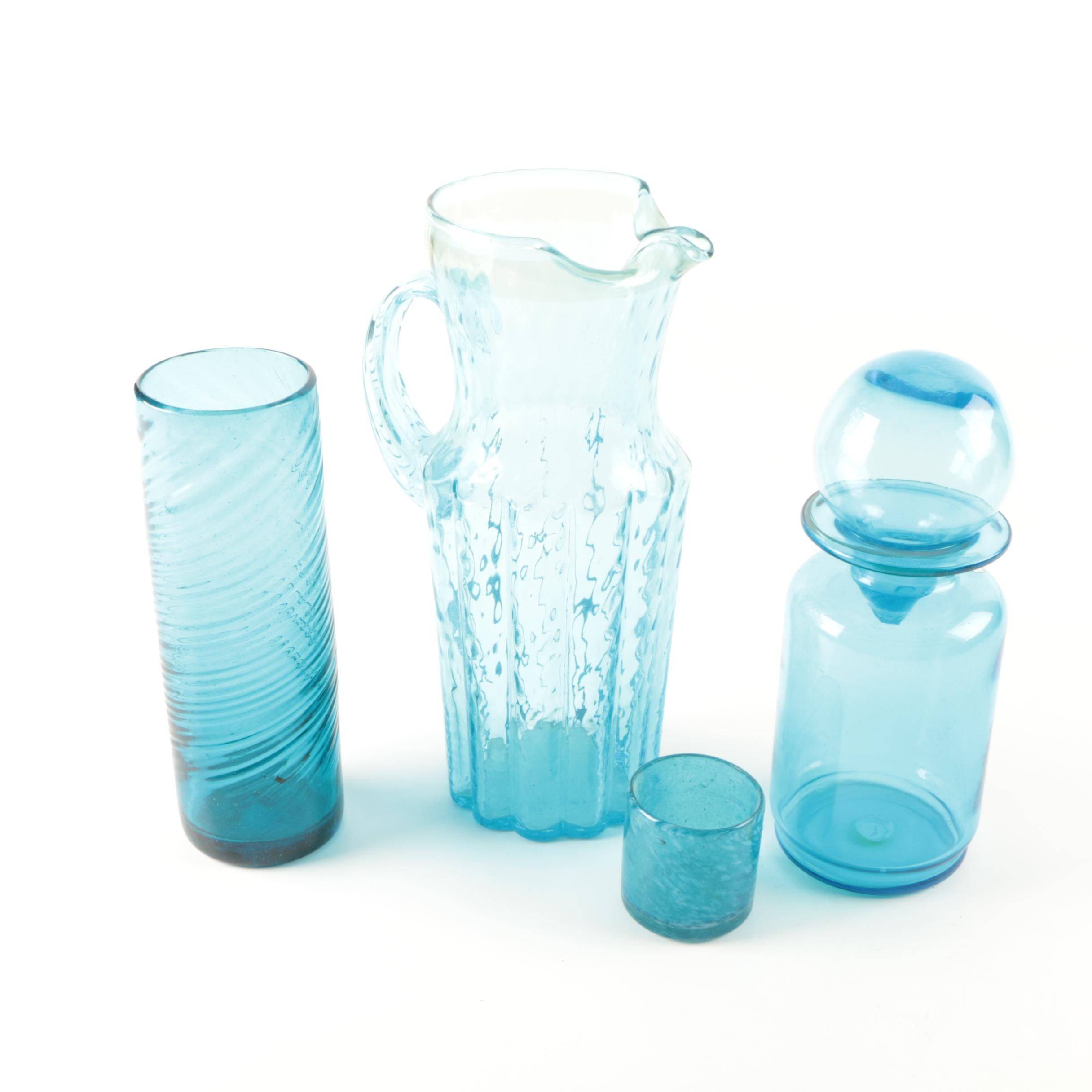 Blue Glass Decor and Serveware