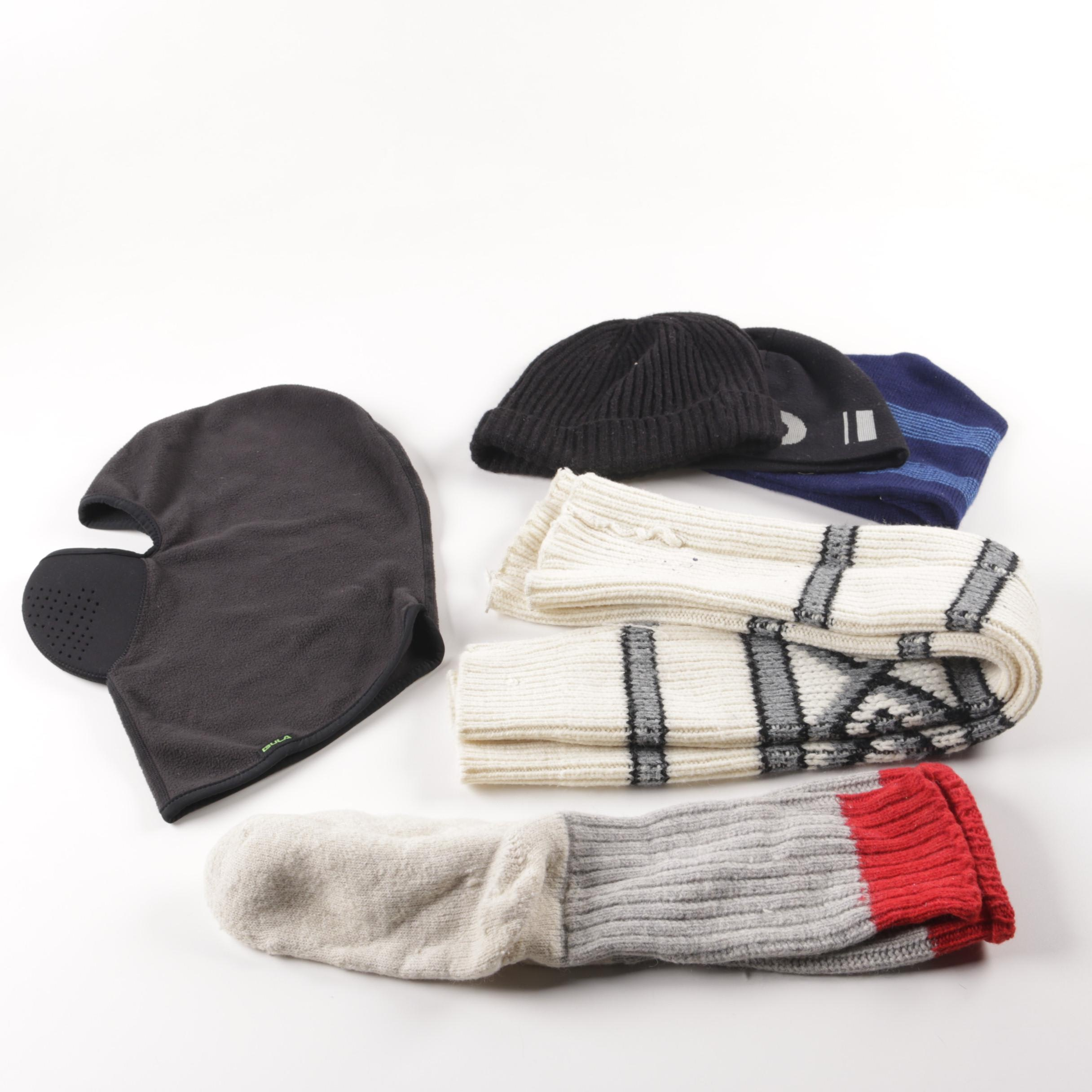 Cold Weather Accessories Including a Ski Mask and Beanies