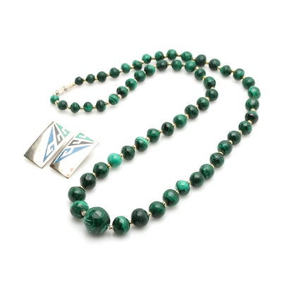 Malachite Beaded Necklace and Chip Inlay Earrings