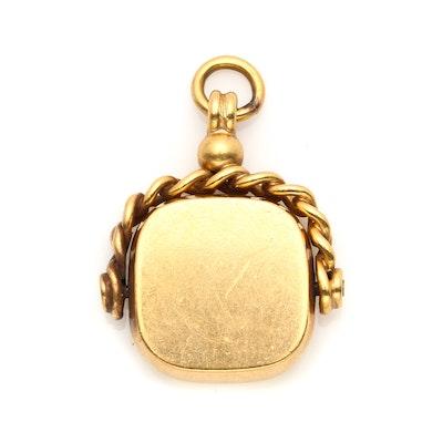 Vintage 9K Yellow Gold Watch Fob Pendant
