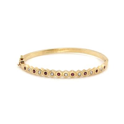 14K Yellow Gold Ruby and Diamond Hinged Bracelet
