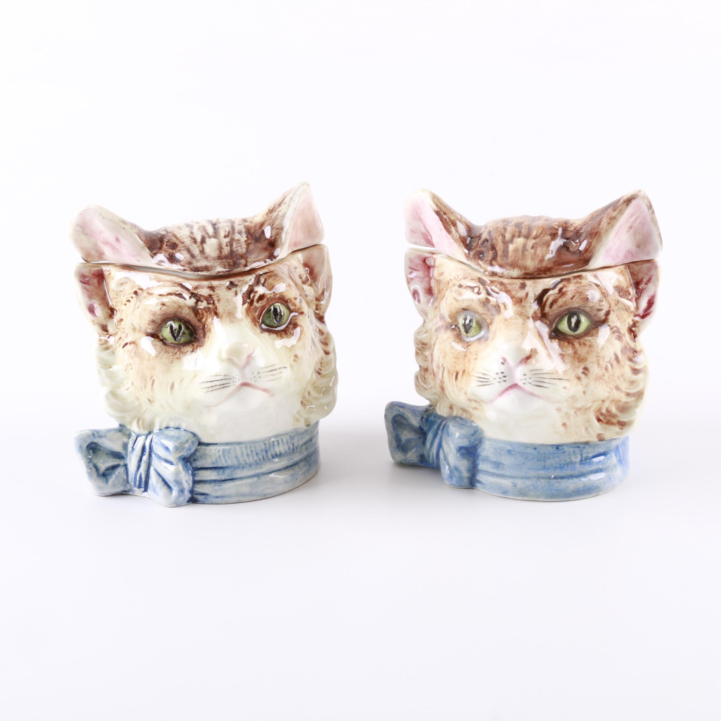 Vintage Ceramic Cat Head Humidors