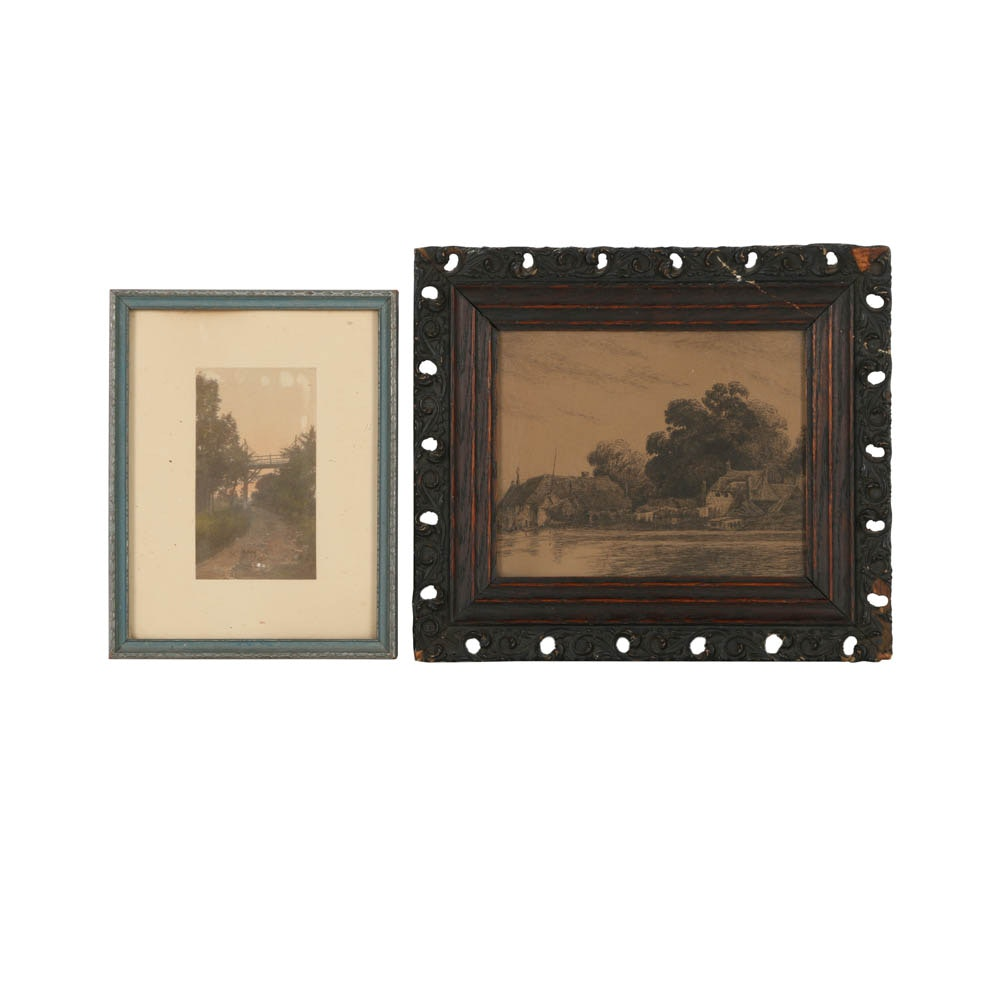 Hand-Tinted Photograph and Drypoint Etching of Landscapes