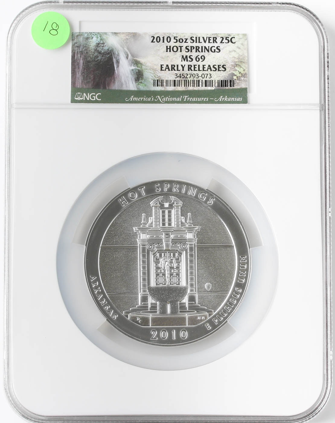 Graded MS69 (By NGC) 2010 5oz Silver 25 Cent Hot Springs American Coin