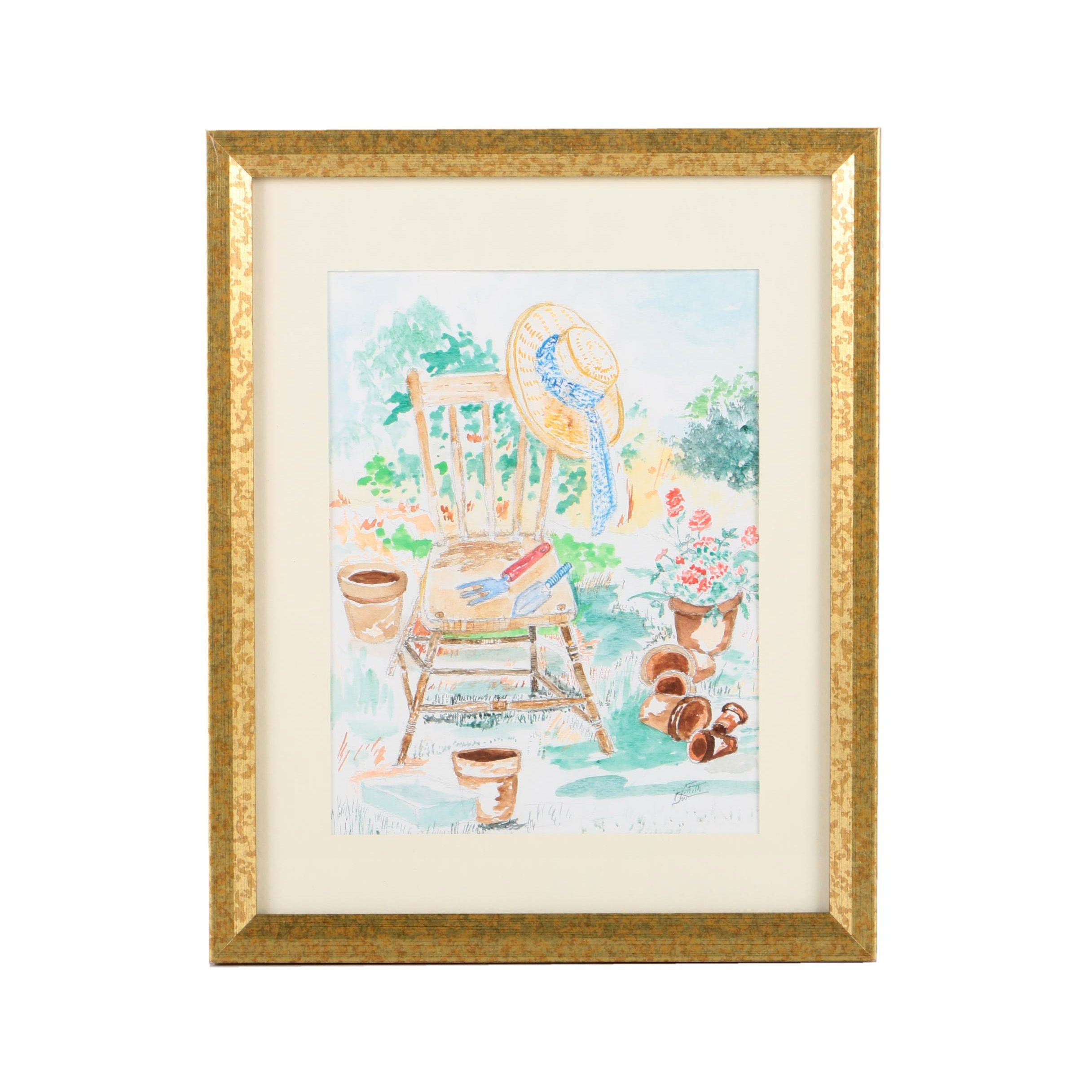 Raymond Smith Watercolor Painting on Paper of Garden Scene